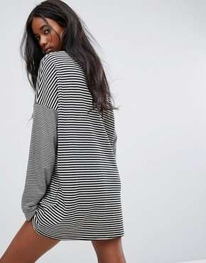 photo Oversized T-Shirt Dress with Choker in Stripe by The Ragged Priest, color Black/White - Image 2