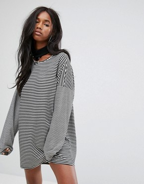 photo Oversized T-Shirt Dress with Choker in Stripe by The Ragged Priest, color Black/White - Image 1