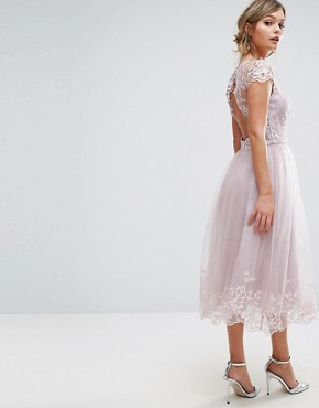 photo Lace Midi Prom Dress with Lace Neck by Chi Chi London Premium, color Mink - Image 2