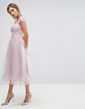 photo Lace Midi Prom Dress with Lace Neck by Chi Chi London Premium, color Mink - Image 1