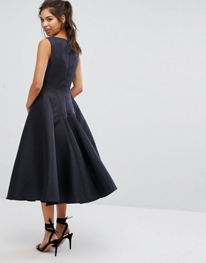 photo Fit and Flare Midi Dress with Seam Detail by Chi Chi London, color Black - Image 2