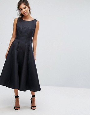 photo Fit and Flare Midi Dress with Seam Detail by Chi Chi London, color Black - Image 4