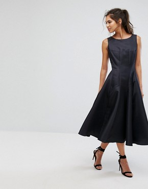photo Fit and Flare Midi Dress with Seam Detail by Chi Chi London, color Black - Image 1