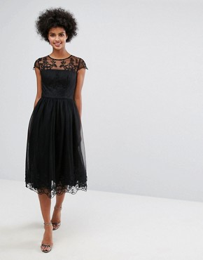 photo Lace Midi Prom Dress with Lace Neck by Chi Chi London Premium, color Black - Image 1