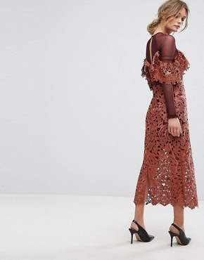 photo Midi Dress in Crochet Lace with Mesh Sleeves by Three Floor, color Rust - Image 2