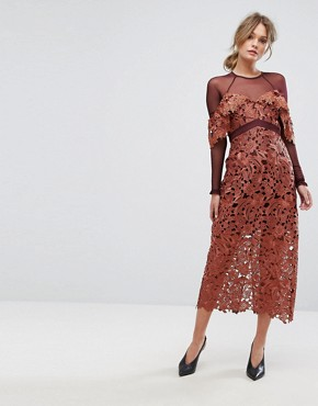 photo Midi Dress in Crochet Lace with Mesh Sleeves by Three Floor, color Rust - Image 1