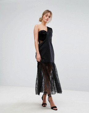 photo One Shoulder Pleated Midi Lace Dress by Three Floor, color Black - Image 4