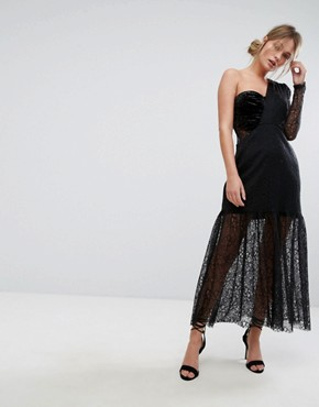 photo One Shoulder Pleated Midi Lace Dress by Three Floor, color Black - Image 1