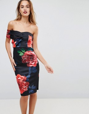 photo One Shoulder Folded Floral Midi Bodycon Dress by ASOS, color Multi - Image 1