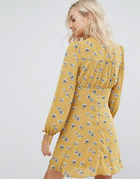 photo Floral Lace Up Mini Dress by New Look Petite, color Yellow - Image 2