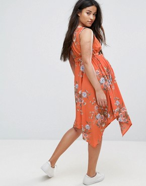 photo Hanky Hem Dress by New Look Maternity, color Orange Pattern - Image 2