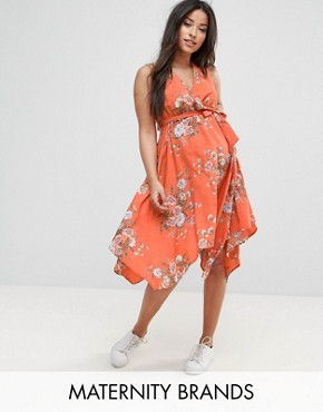 photo Hanky Hem Dress by New Look Maternity, color Orange Pattern - Image 1