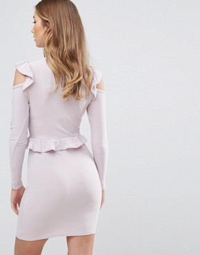 photo Frill Waist and Shoulder Dress by Lasula, color Soft Lilac - Image 2