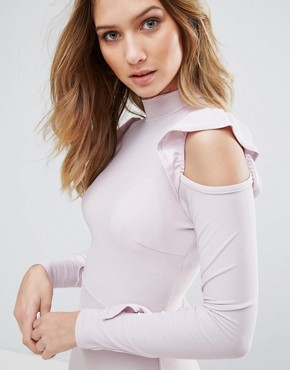 photo Frill Waist and Shoulder Dress by Lasula, color Soft Lilac - Image 3