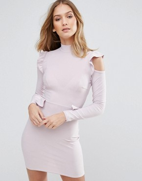 photo Frill Waist and Shoulder Dress by Lasula, color Soft Lilac - Image 1