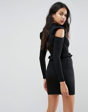 photo Frill Waist and Shoulder Dress by Lasula, color Black - Image 2