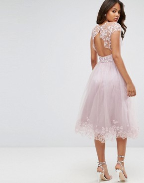 photo Lace Midi Prom Dress with Lace Neck by Chi Chi London Tall Premium, color Mink - Image 2