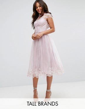 photo Lace Midi Prom Dress with Lace Neck by Chi Chi London Tall Premium, color Mink - Image 1