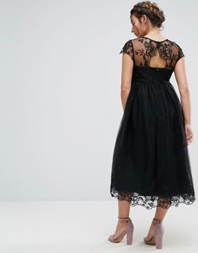 photo Lace Midi Prom Dress with Lace Neck by Chi Chi London Maternity Premium, color Black - Image 2