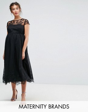 photo Lace Midi Prom Dress with Lace Neck by Chi Chi London Maternity Premium, color Black - Image 1