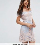 photo Lace Bardot Mini Dress by Chi Chi London Tall Premium, color Grey/Rose Gold - Image 1
