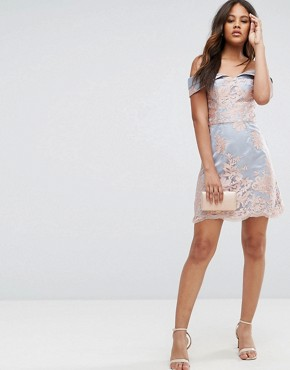 photo Lace Bardot Mini Dress by Chi Chi London Tall Premium, color Grey/Rose Gold - Image 4
