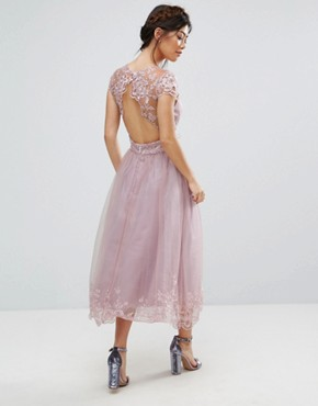 photo Lace Midi Prom Dress with Lace Neck by Chi Chi London Petite Premium, color Mink - Image 2