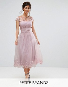 photo Lace Midi Prom Dress with Lace Neck by Chi Chi London Petite Premium, color Mink - Image 1