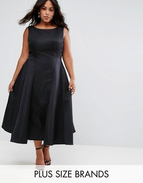 photo Fit and Flare Midi Dress with Seam Detail by Chi Chi London Plus, color Black - Image 1