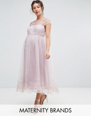 photo Lace Midi Prom Dress with Lace Neck by Chi Chi London Maternity Premium, color Mink - Image 1
