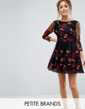 photo Long Sleeve Prom Dress with Floral Embroidery by Chi Chi London Petite, color Black/Red - Image 1