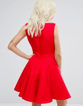 photo Fit and Flare Mini Dress with Seam Detail by Chi Chi London Petite, color Red - Image 2