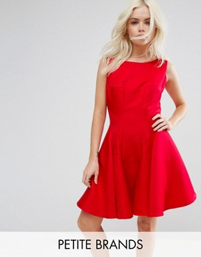 photo Fit and Flare Mini Dress with Seam Detail by Chi Chi London Petite, color Red - Image 1
