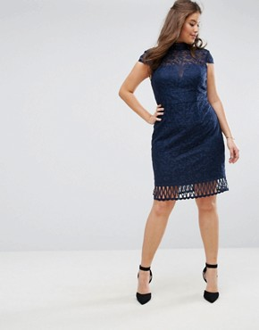 photo Cap Sleeve Lace Pencil Dress in Cutwork Lace and High Neck by Chi Chi London Plus, color Navy - Image 2