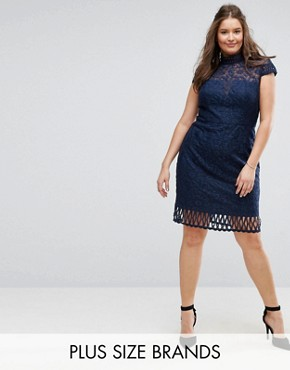 photo Cap Sleeve Lace Pencil Dress in Cutwork Lace and High Neck by Chi Chi London Plus, color Navy - Image 1
