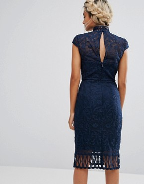 photo Cap Sleeve Lace Pencil Dress in Cutwork Lace and High Neck by Chi Chi London Petite, color Navy - Image 2