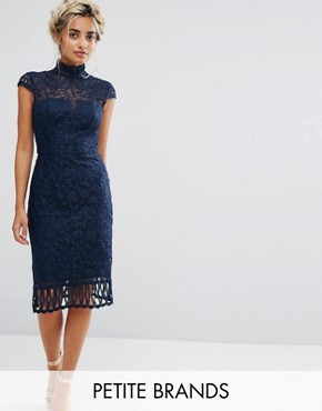 photo Cap Sleeve Lace Pencil Dress in Cutwork Lace and High Neck by Chi Chi London Petite, color Navy - Image 1
