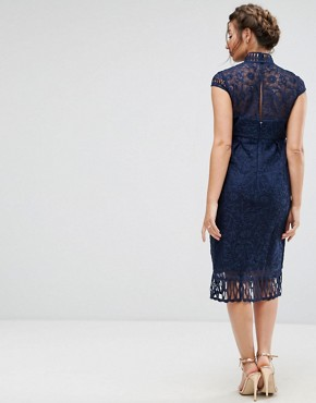 photo Cap Sleeve Lace Pencil Dress in Cutwork Lace and High Neck by Chi Chi London Maternity, color Navy - Image 2