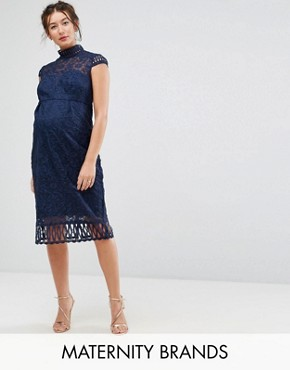 photo Cap Sleeve Lace Pencil Dress in Cutwork Lace and High Neck by Chi Chi London Maternity, color Navy - Image 1