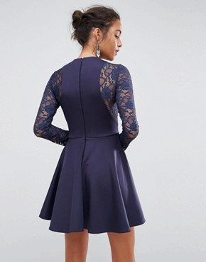photo Mini Scuba Skater Dress with Lace Sleeves by ASOS PREMIUM, color Royal Navy - Image 2