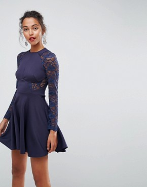 photo Mini Scuba Skater Dress with Lace Sleeves by ASOS PREMIUM, color Royal Navy - Image 1