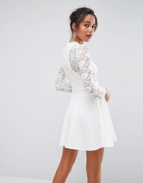 photo Mini Scuba Skater Dress with Lace Sleeves by ASOS PREMIUM, color White - Image 2
