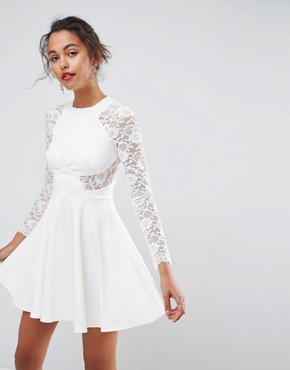photo Mini Scuba Skater Dress with Lace Sleeves by ASOS PREMIUM, color White - Image 1