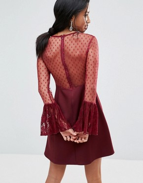 photo A-Line Mini Dress with Lace Frill & Fluted Long Sleeve by Elise Ryan Petite, color Deep Wine - Image 2