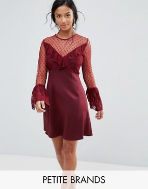 photo A-Line Mini Dress with Lace Frill & Fluted Long Sleeve by Elise Ryan Petite, color Deep Wine - Image 1