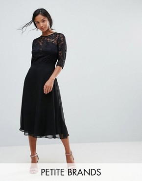 photo Lace Skater Dress with Ladder Trim by Elise Ryan Petite, color Black - Image 1