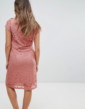 photo Lace Dress with Ruffle Trim by Mamalicious, color Old Rose - Image 2