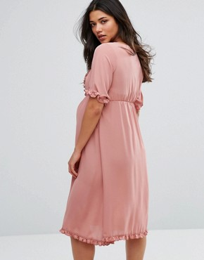 photo Frill Detail Skater Dress by Mamalicious, color Rose - Image 2