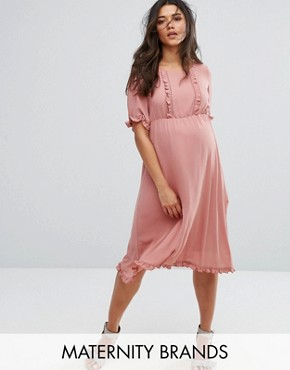 photo Frill Detail Skater Dress by Mamalicious, color Rose - Image 1