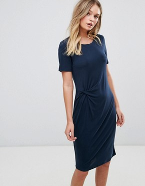 photo Short sleeve Drape Dress by Selected, color Blue - Image 1